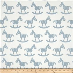 Premier Prints Rocking Horse Twill White/Weathered Blue