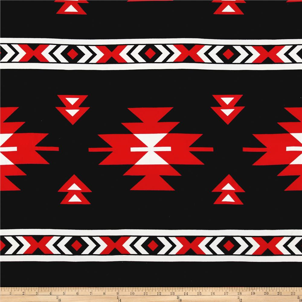 Brushed Jersey Knit Abstract Geo Black/Red