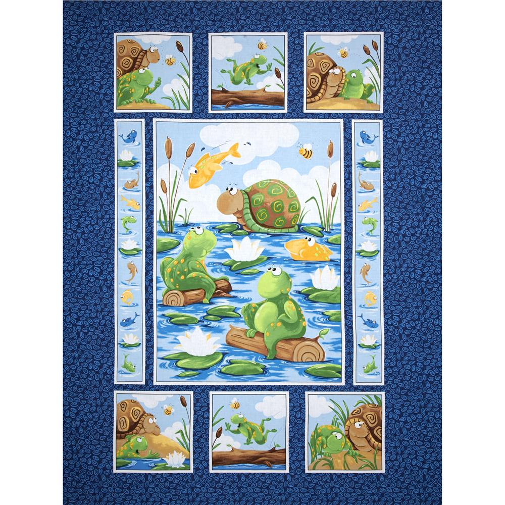 Susybee paul sheldon gone fishing 36 panel navy for Quilting material