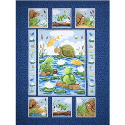 "Susybee Paul & Sheldon Gone Fishing 36"" Panel Navy"