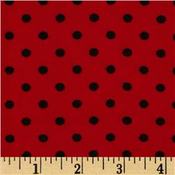 Aunt Polly's Flannel Small Polka Dots Red/Black