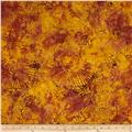 Timeless Treasures Tonga Batik Fig Striped Poppies Rust