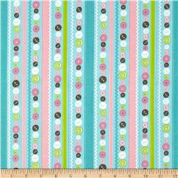 Stitched Garden Button Stripe Blue