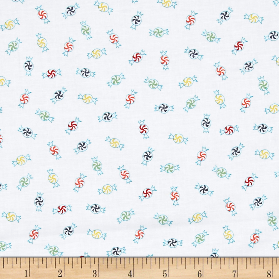 25 Days of Christmas Candy White Fabric By The Yard
