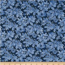 Timeless Treasures Winter Frost Glitter Leaves Navy