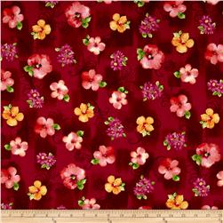 Sophia Spaced Floral Dark Cranberry