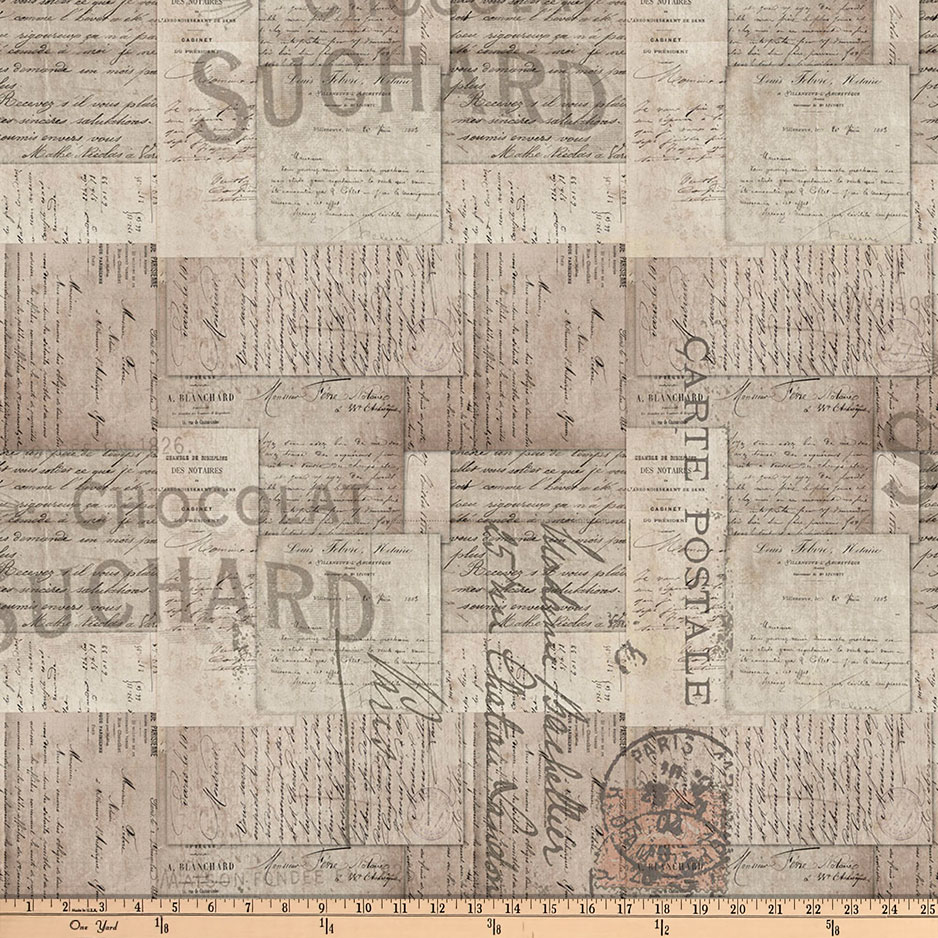 Tim Holtz Eclectic Elements French Script Neutral Fabric