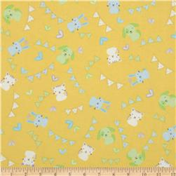 Welcome Baby Flannel Tossed Animals Yellow