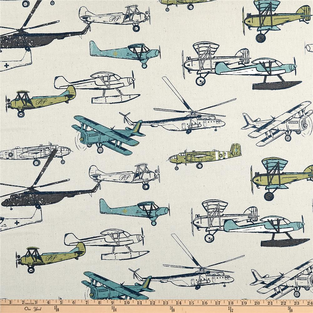 Premier prints vintage air felix natural discount for Airplane fabric by the yard