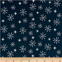 Riley Blake Nutcracker Christmas Snowflakes Navy