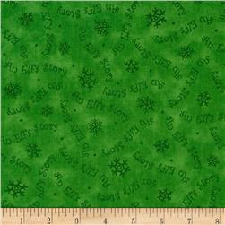 Elf on the Shelf An Elf Story Snowflake/Word Tonal Green