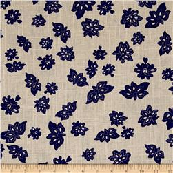 Windham Low Country Indigo Linen Tossed Flowers Linen