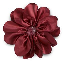 "4-1/2"" Satin Flower Brooch And Hairclip Sparkle Center Burgundy"