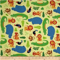 Rainforest Fun Tossed Animals & Leaves Yellow Fabric