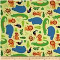 Rainforest Fun Tossed Animals & Leaves Yellow