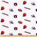 Collegiate Cotton Broadcloth Auburn University White