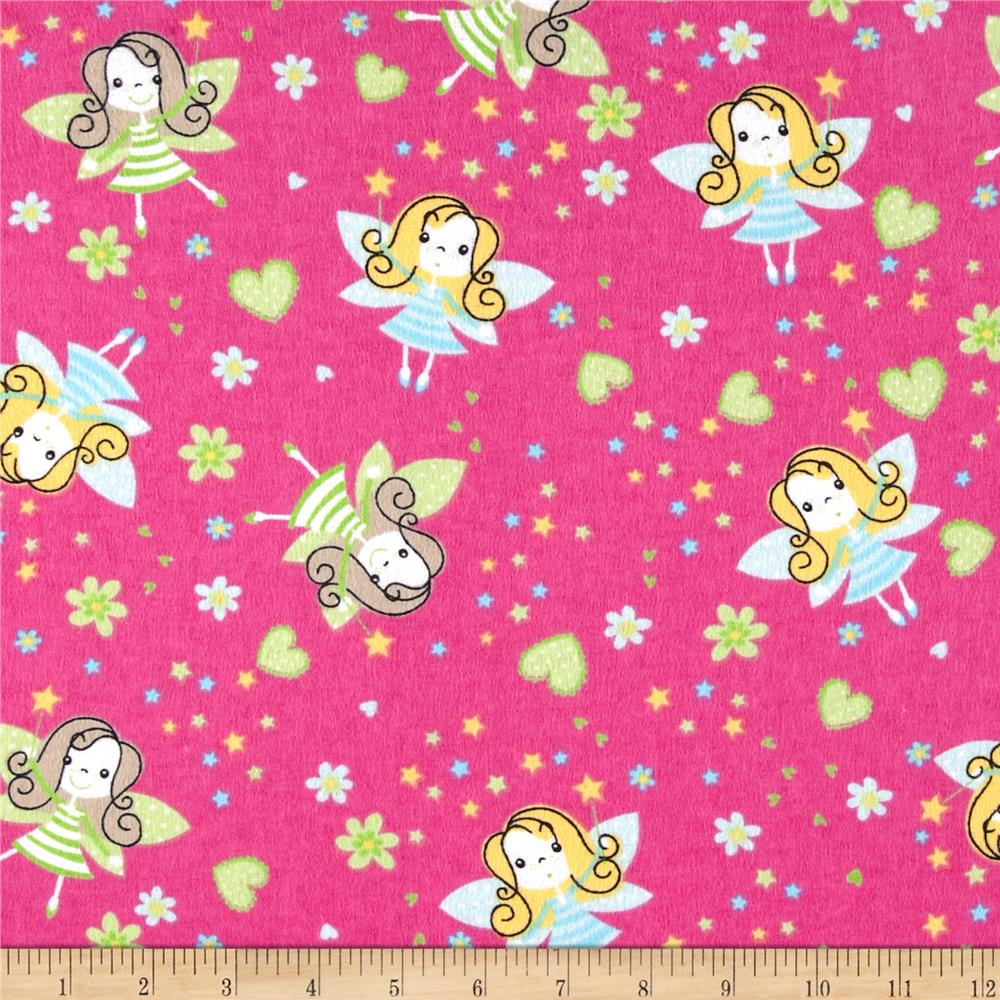 Flannel Prints Fairies Fuchsia