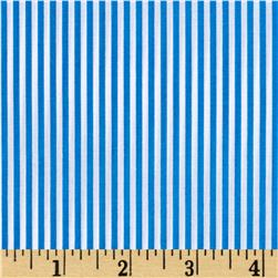 Cotton Poly Broadcloth Stripes Blue/White