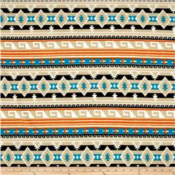 Liverpool Double Knit Print Aztec Blue/Orange