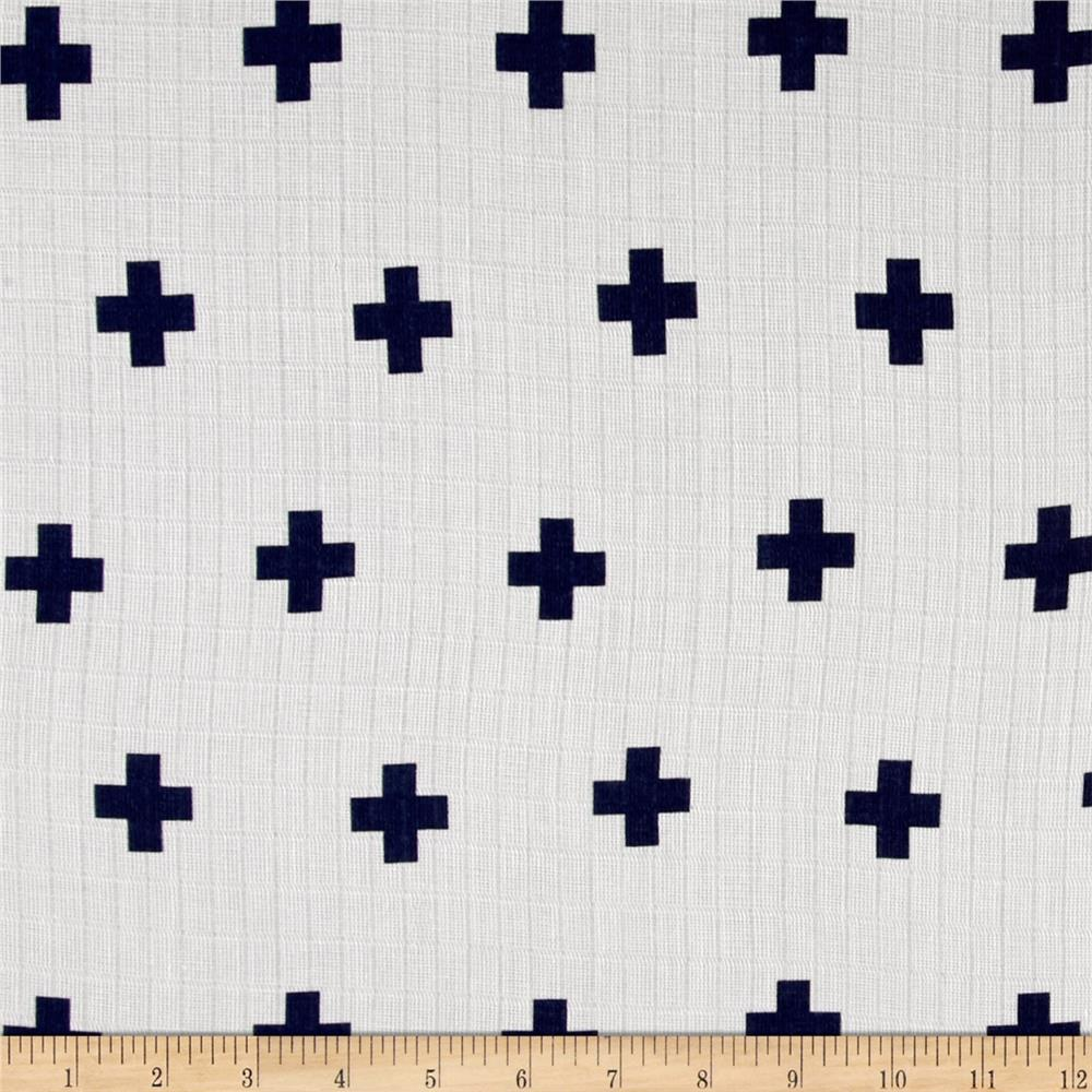 Riley Blake Double Gauze Navy Plus