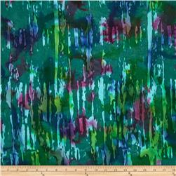 Indian Batik Tropical Forest Splash Teal