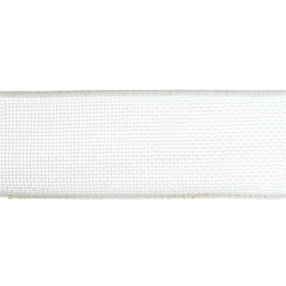 "1 1/2"" Faux Burlap Wired Ribbon White"