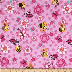 Comfy Flannel Bugs & Flowers Pink Fabric