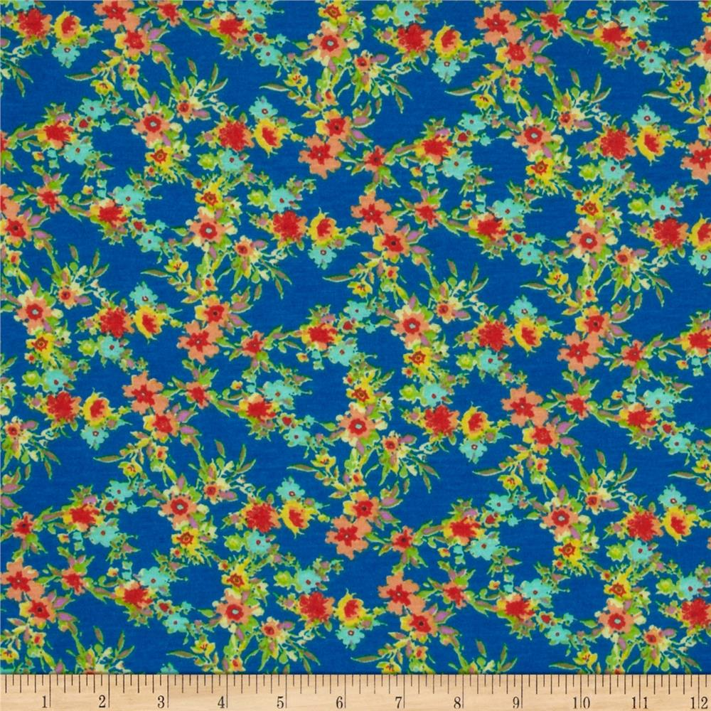 Soft Jersey Knit Floral Turquoise/Rust/Green