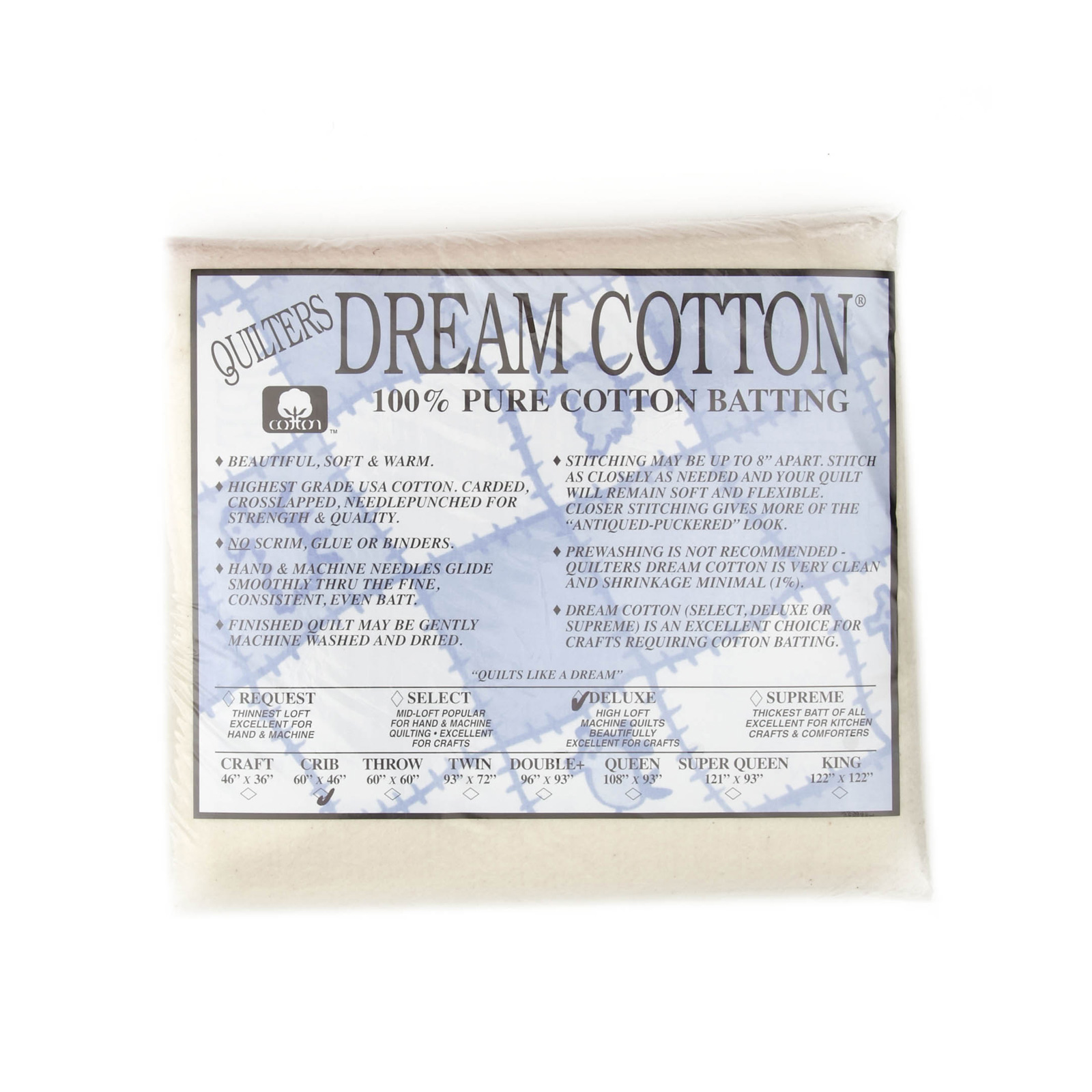 Quilter's Dream Natural Cotton Deluxe Batting (46'' x 60'') Crib by Quilter's Dream in USA