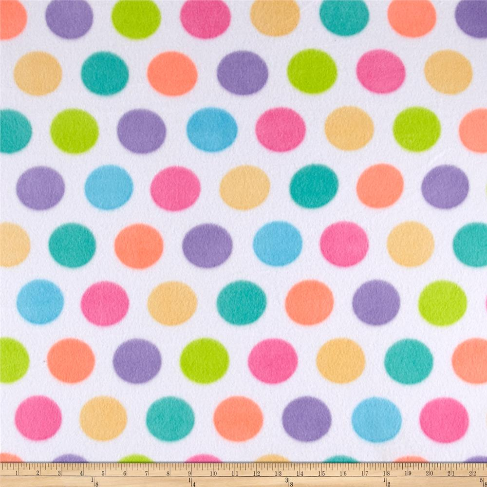Polar Fleece Print Fun Dot White