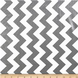 Riley Blake Hollywood Sparkle Medium Chevron Pewter Fabric
