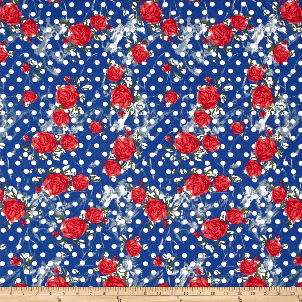 Fashion Printed Denim Retro Dots and Roses Fabric By The Yard