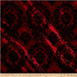 Flocked Damask Taffetta Burgundy/Black