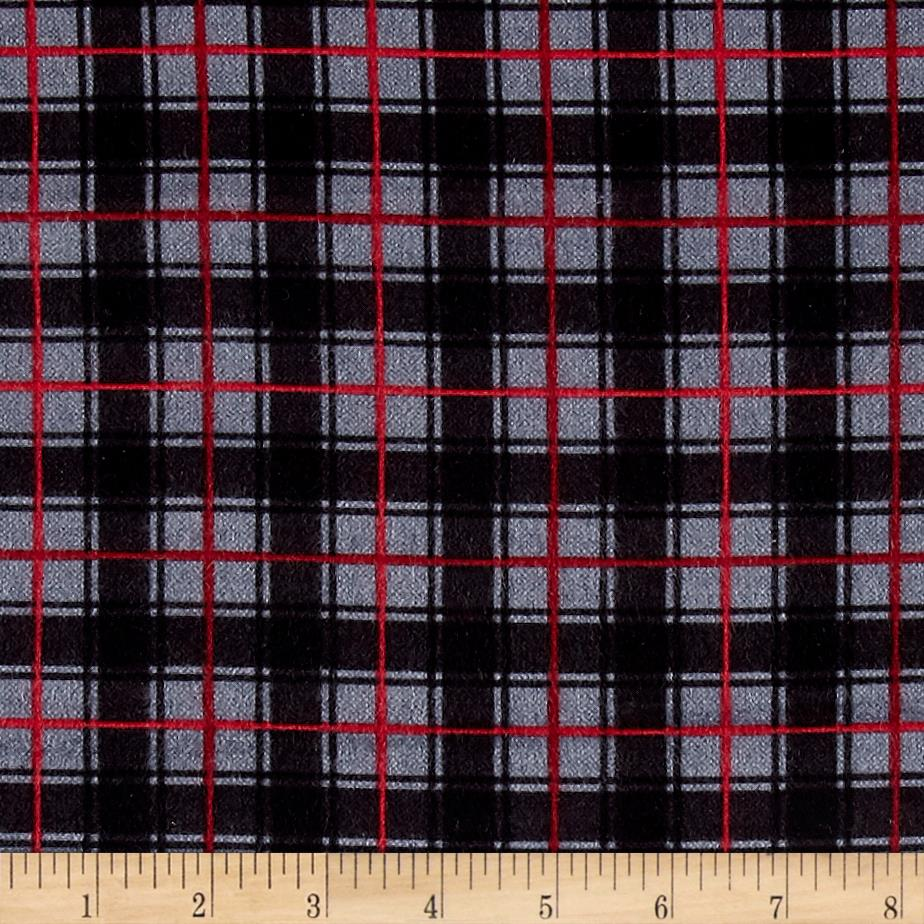 Timeless Treasures Oxford Flannel Classic Plaid Grey Fabric