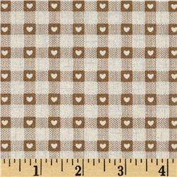 Scandi 3 Heart Plaid Linen/Tan