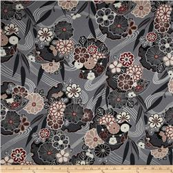 Asuka Metallic Asian Floral Pewter/Silver