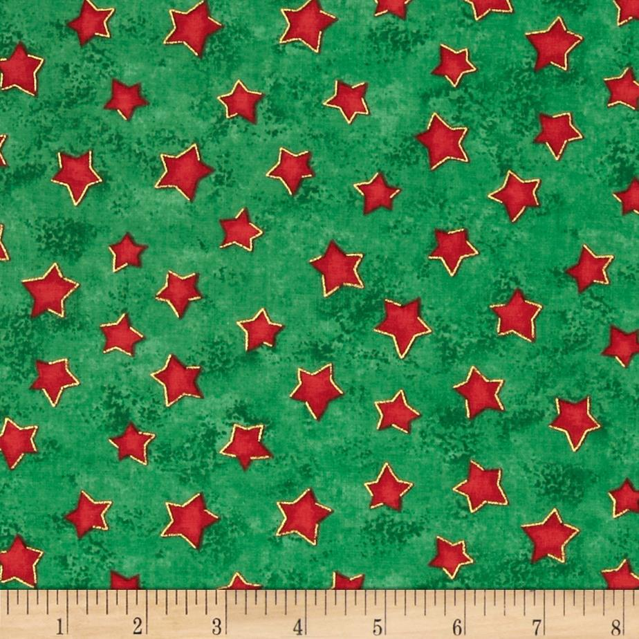 Winter Wonderland Metallic Stars Green