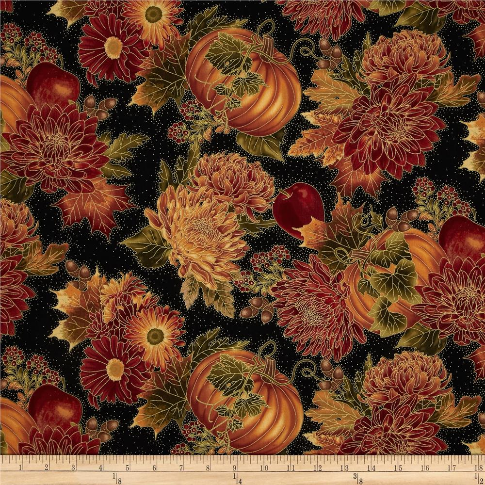 Autumn Splendor Autumn Floral Black
