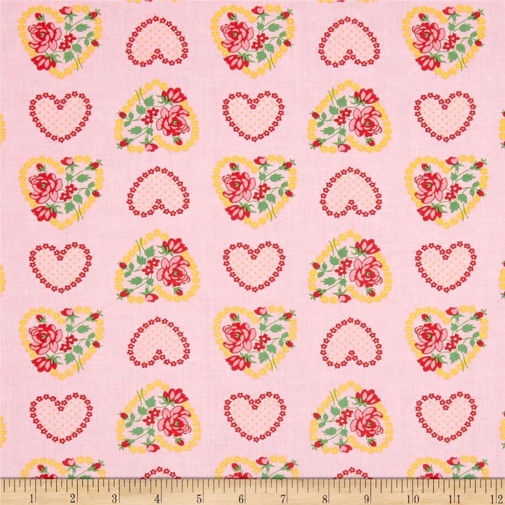 Verna Mosquera Love & Friendship Rose Heart Blush Fabric