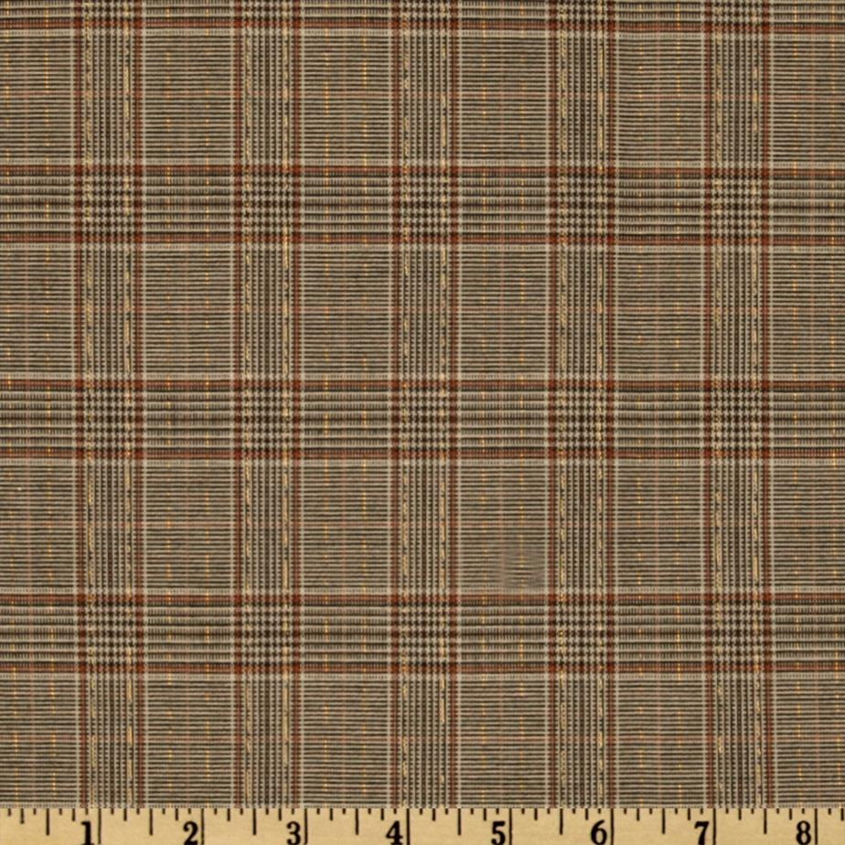 Yarn Dyed Plaid Sparkle Suiting Brown