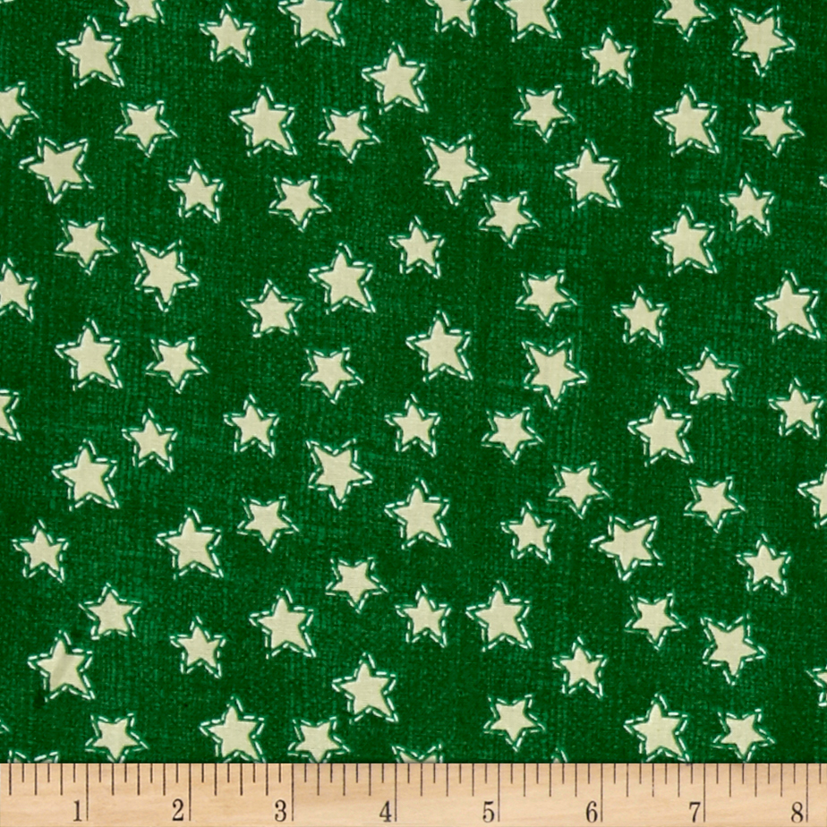 Craft Paper Christmas Stars Green Fabric By The Yard