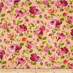 Ambrosia Toss Floral Peach Fabric