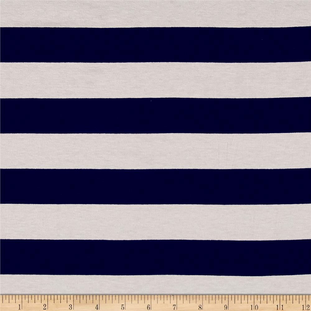 Jersey Knit Large Stripe Navy/White Fabric