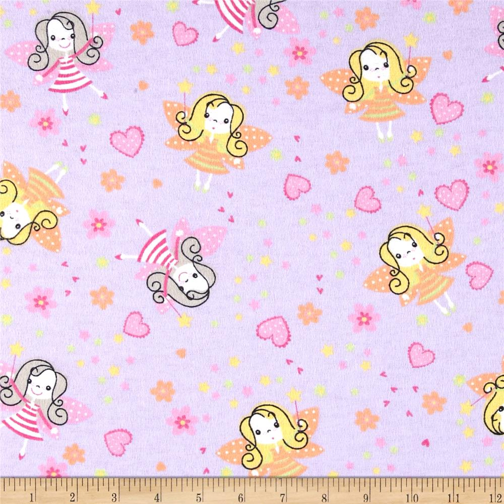 Flannel Prints Fairies Lilac Fabric By The Yard