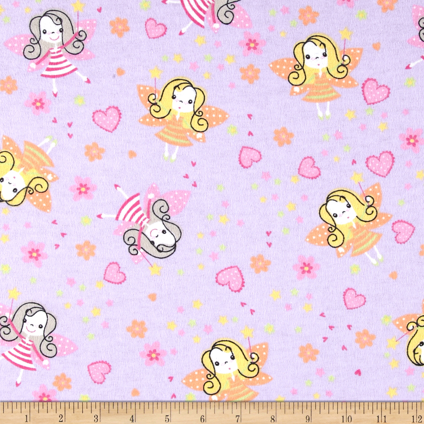Flannel Prints Fairies Lilac Fabric by Newcastle in USA