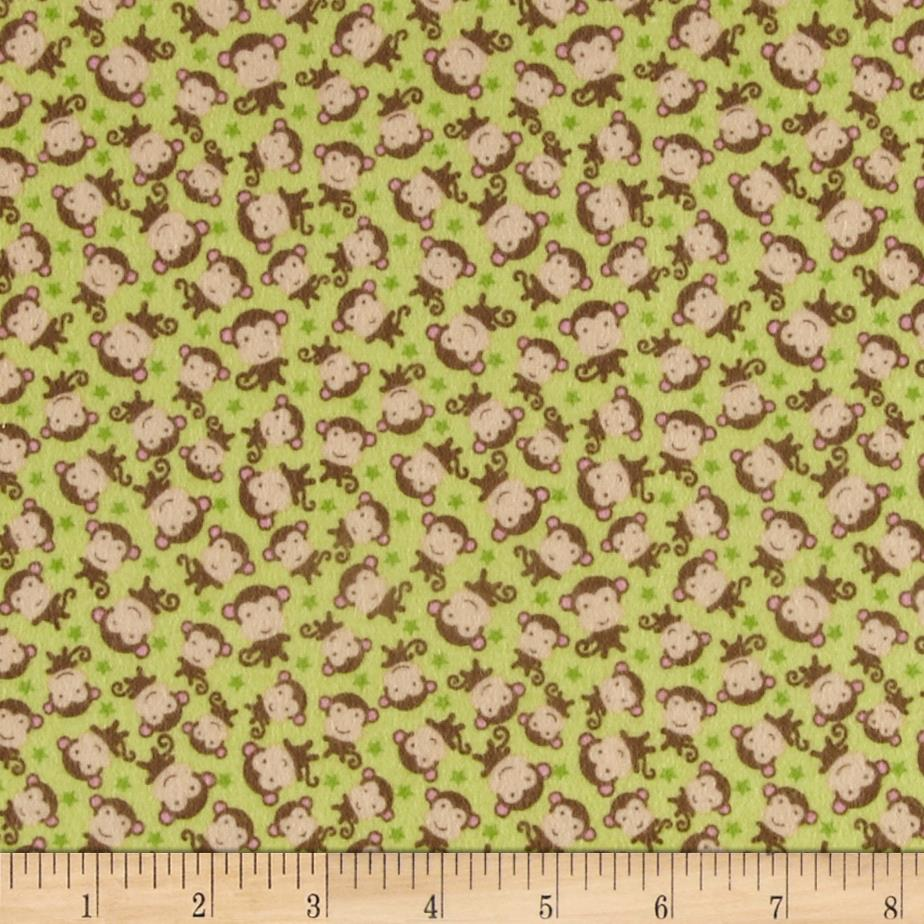 Riley Blake Sweet Baby Girl Flannel Sweet Monkeys Green