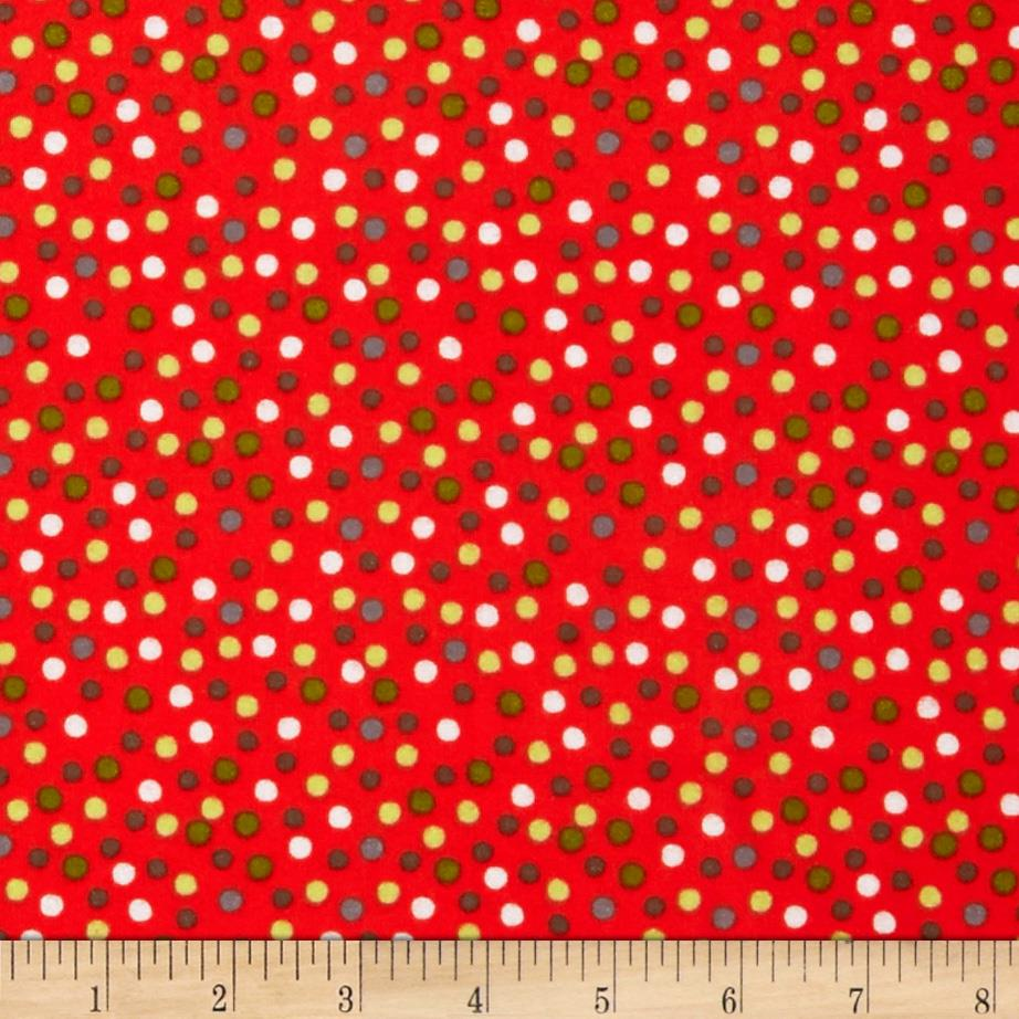 Riley Blake A Merry Little Flannel Merry Dots Red