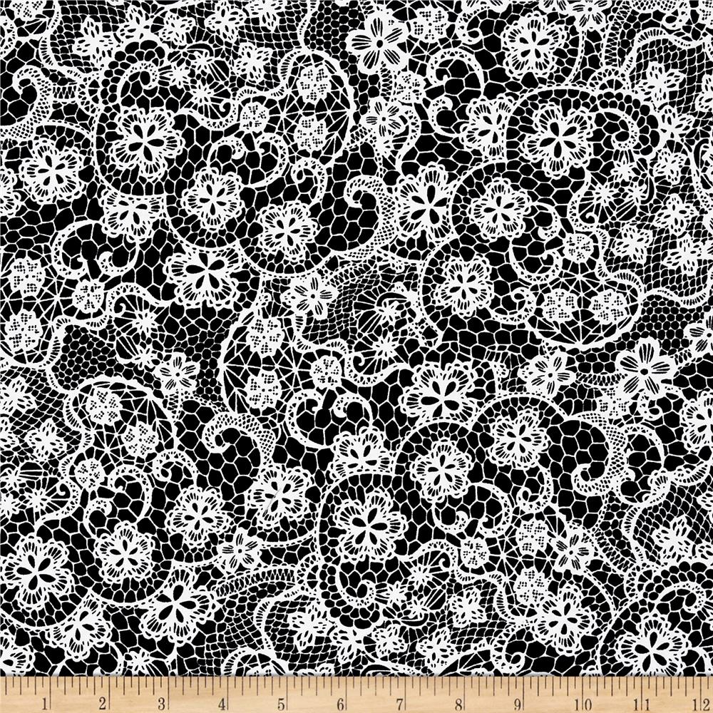 Odds And Ends Lace White On Black Fabric