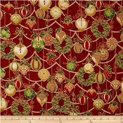 Robert Kaufman Holiday Flourish Metallic Ornaments Crimson