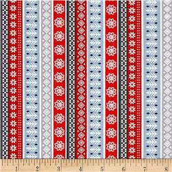 Natalie Alex Snow Delightful Fair Isle Stripe Gray/Red